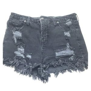 Mossimo distressed black denim jean cut off shorts